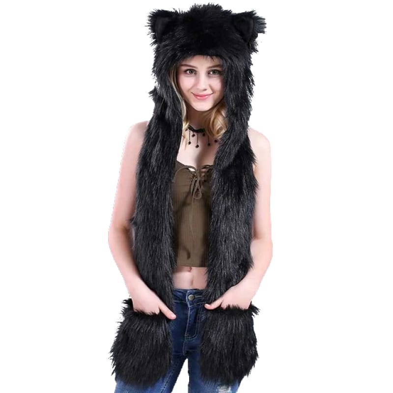 Black fur wolf hat