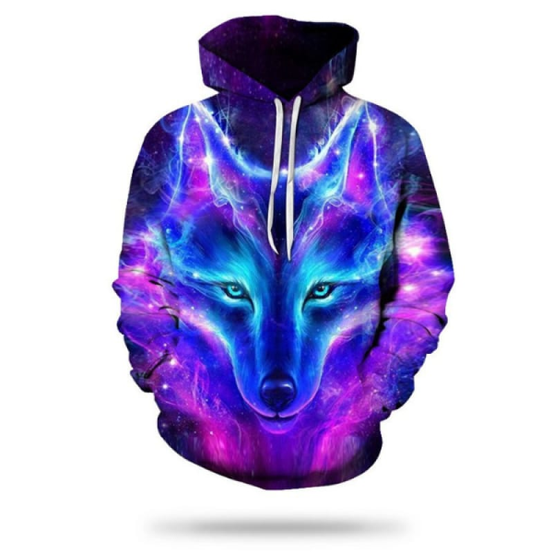 Blue and Pink Wolf Hoodie
