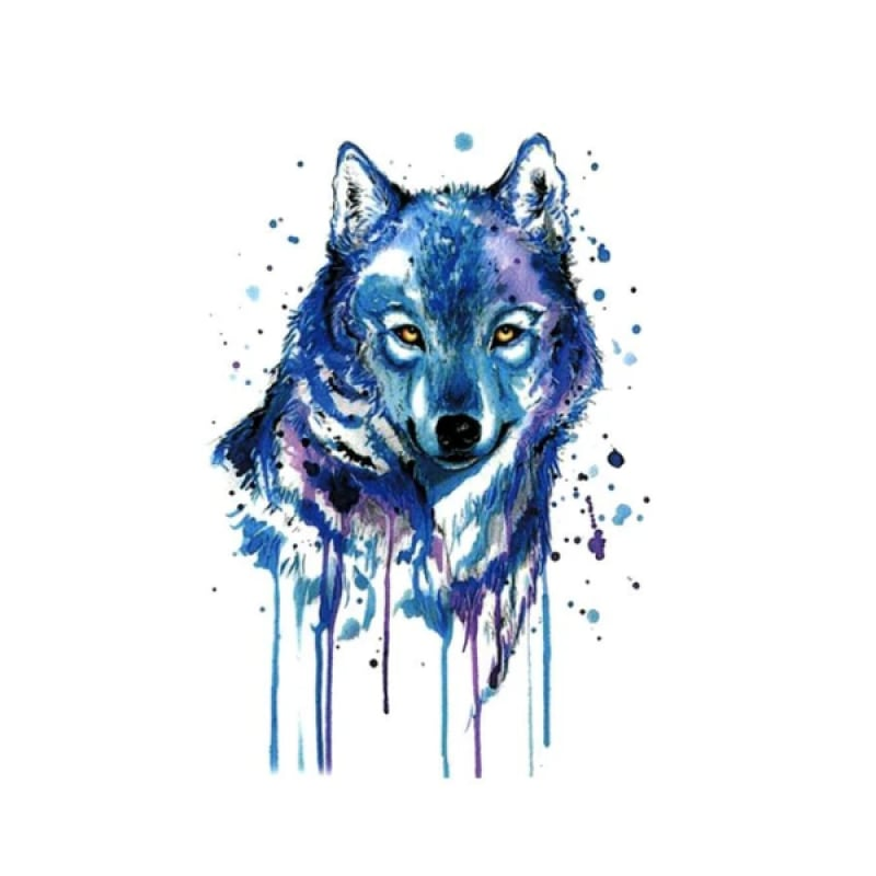 Blue wolf tattoo