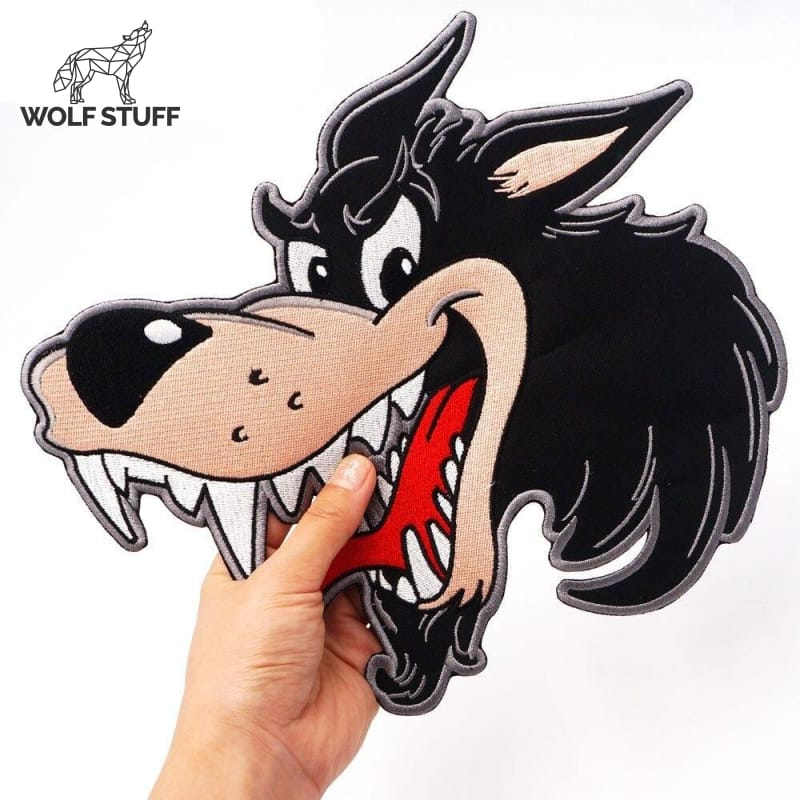 Cartoon wolf patch