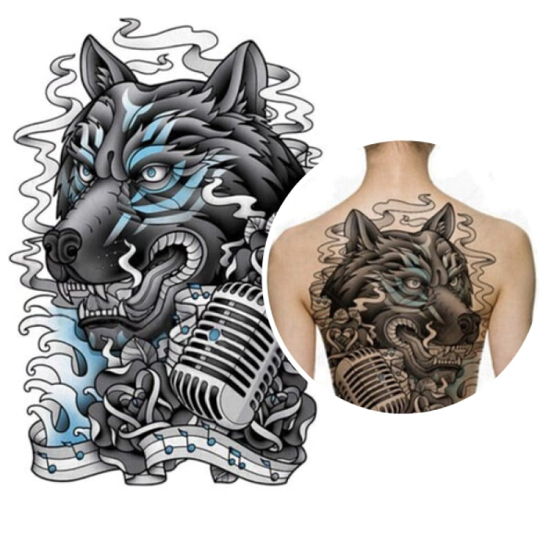 Cartoon wolf tattoo