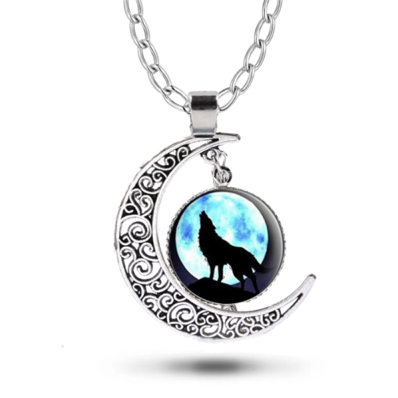 Crescent Moon Wolf Necklace