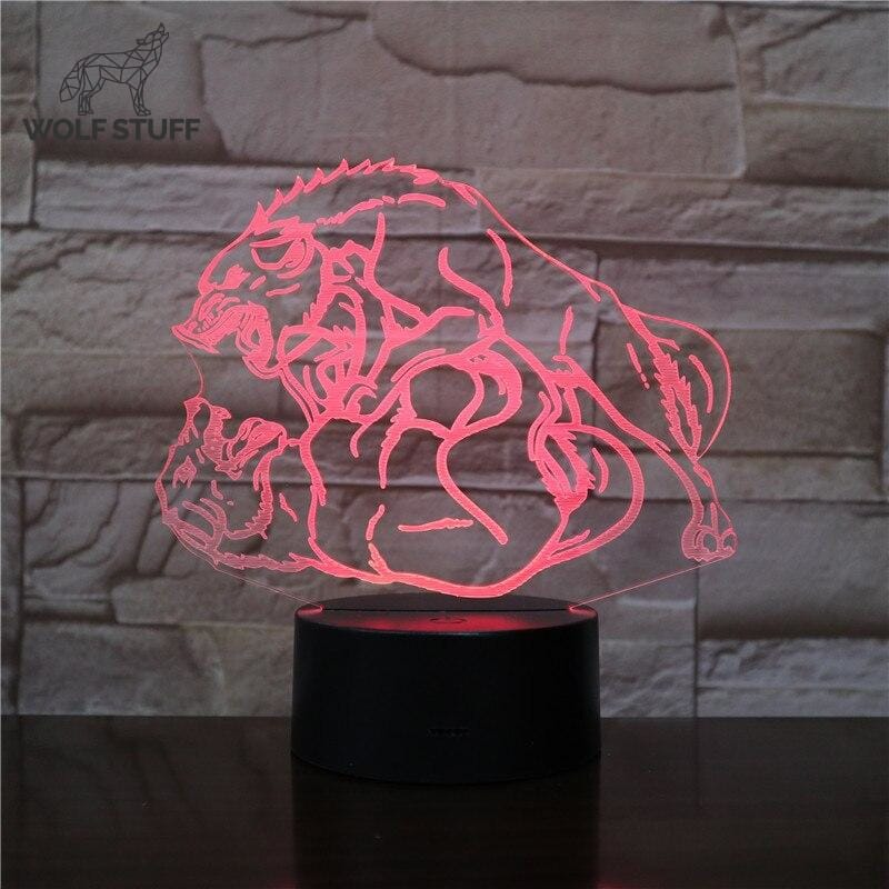 Glass Touch Wolf Lamp