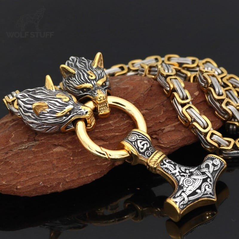 Gold Wolf Necklace