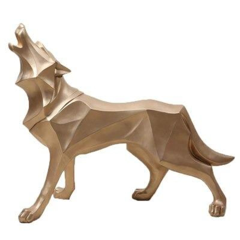 Gold Wolf Statue