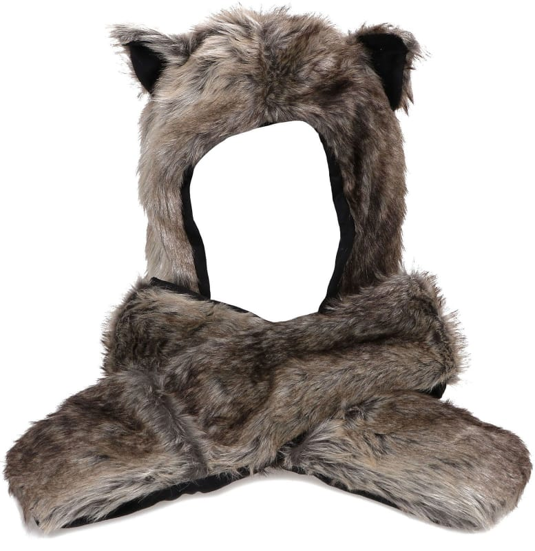 Gray wolf fur hat