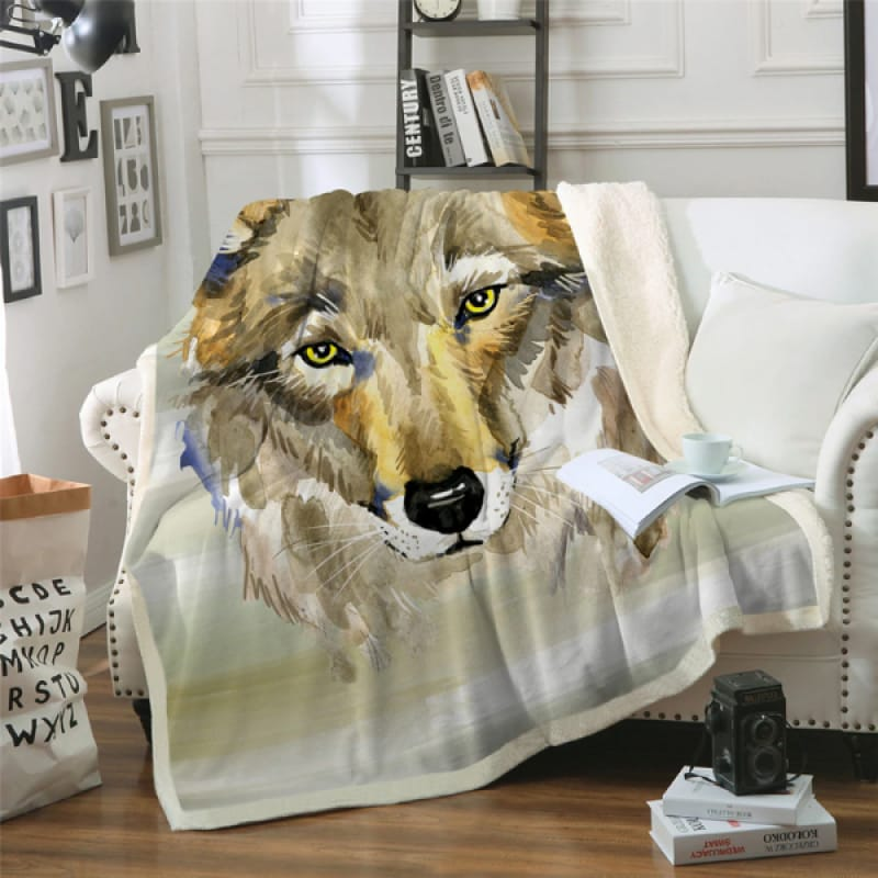 Grey Wolf Fur Blanket