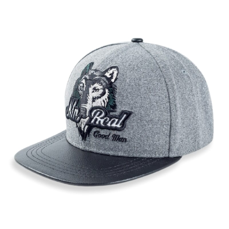 Hat with wolf on it
