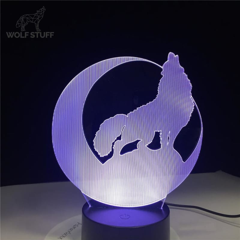 Howling wolf tabletop glass touch lamp