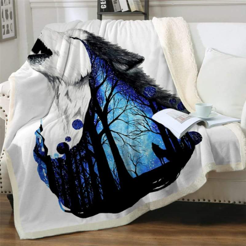 King size wolf blanket