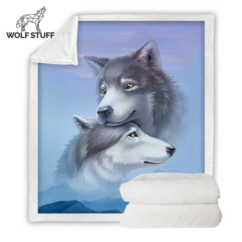 Male and Female Wolf Blanket