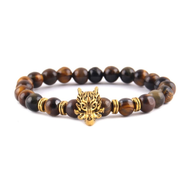 Mens Tiger Eye Bead Bracelet