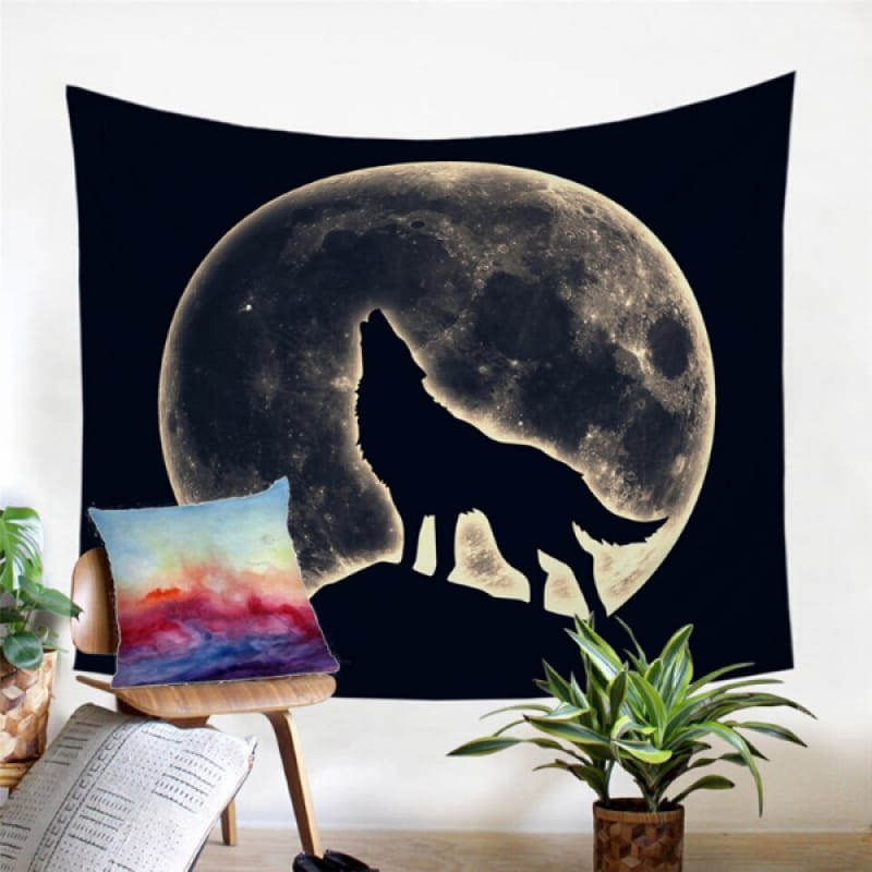 Moon Wolf Tapestry
