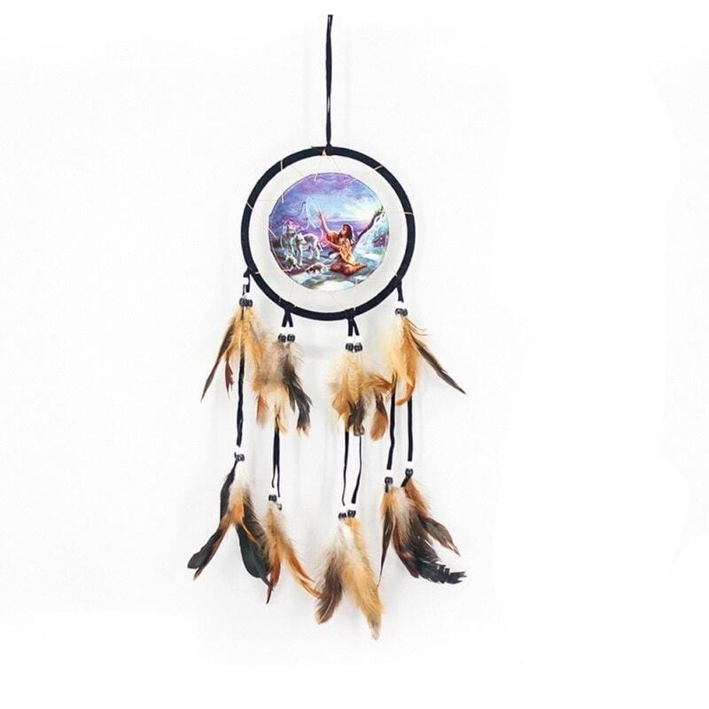 Native American wolf dream catcher