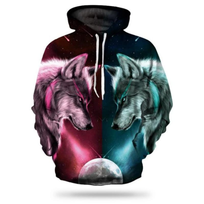 Red and Blue Wolf Hoodie