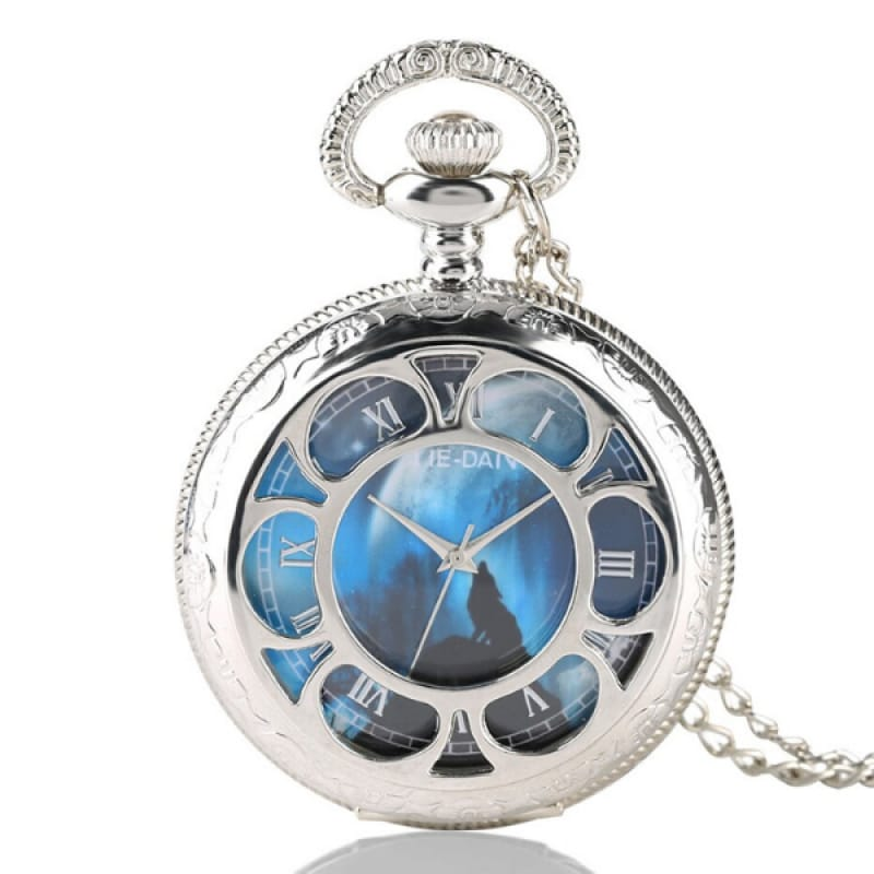 Silver Wolf Pocket Watch