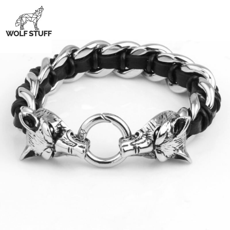 Stainless Steel Wolf Viking Wolf Bracelet