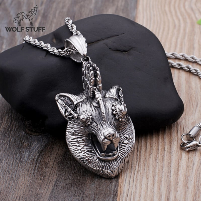 Steampunk Wolf Necklace
