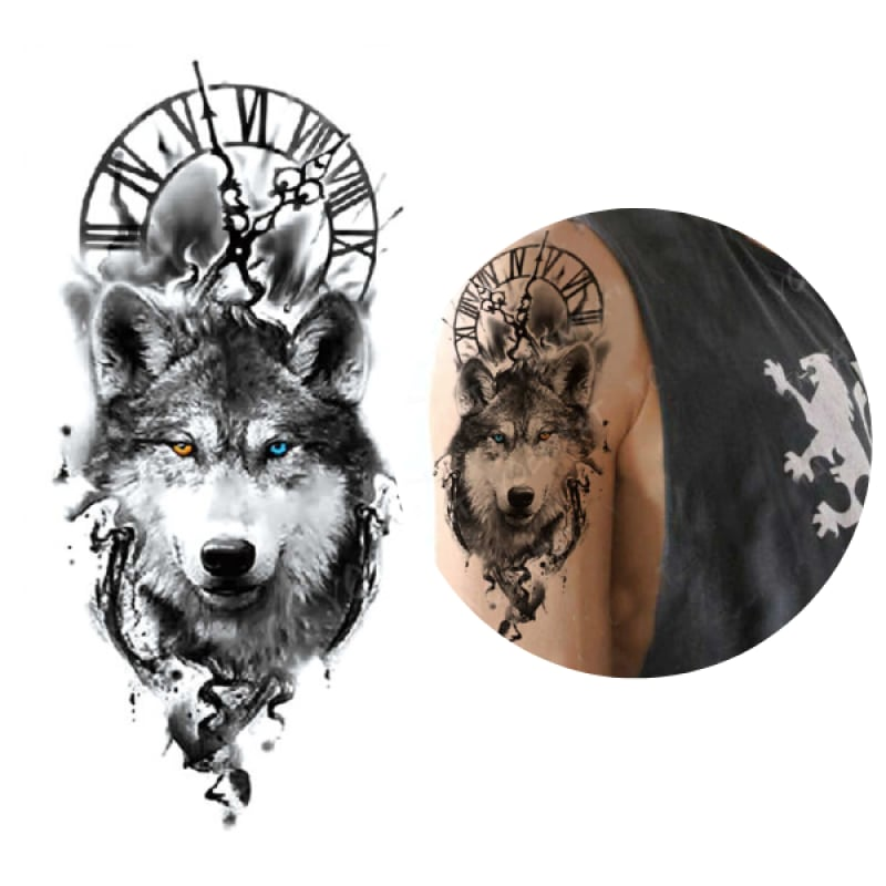 Wolf and clock tattoo