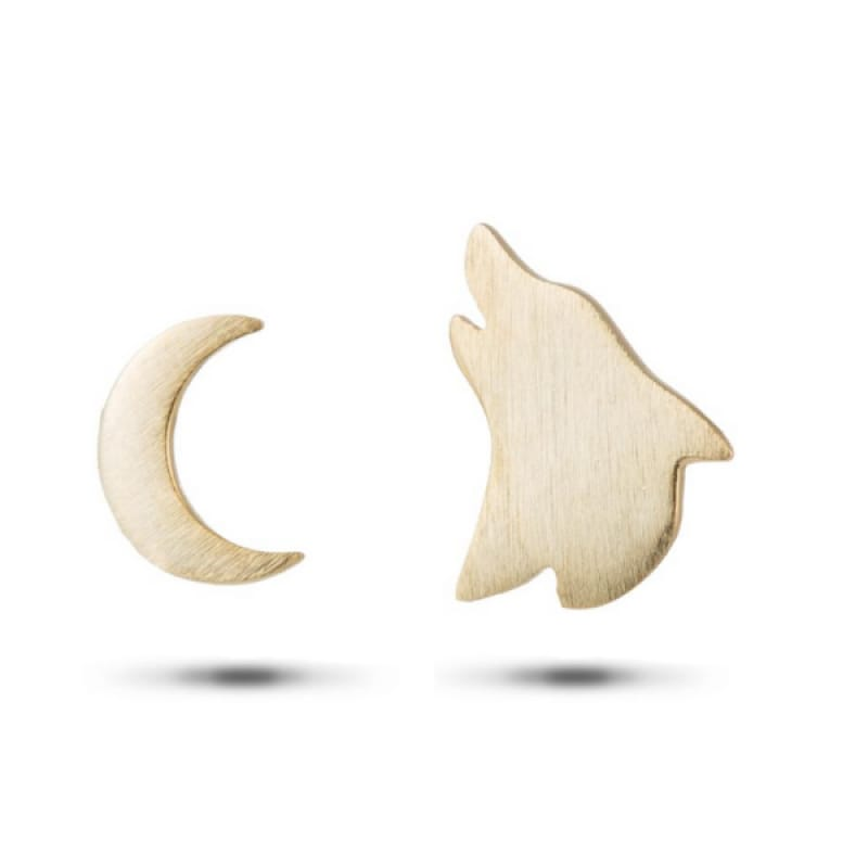 Wolf and Moon Earrings