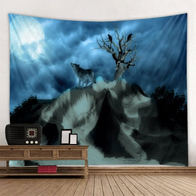 Wolf and Moon Tapestry