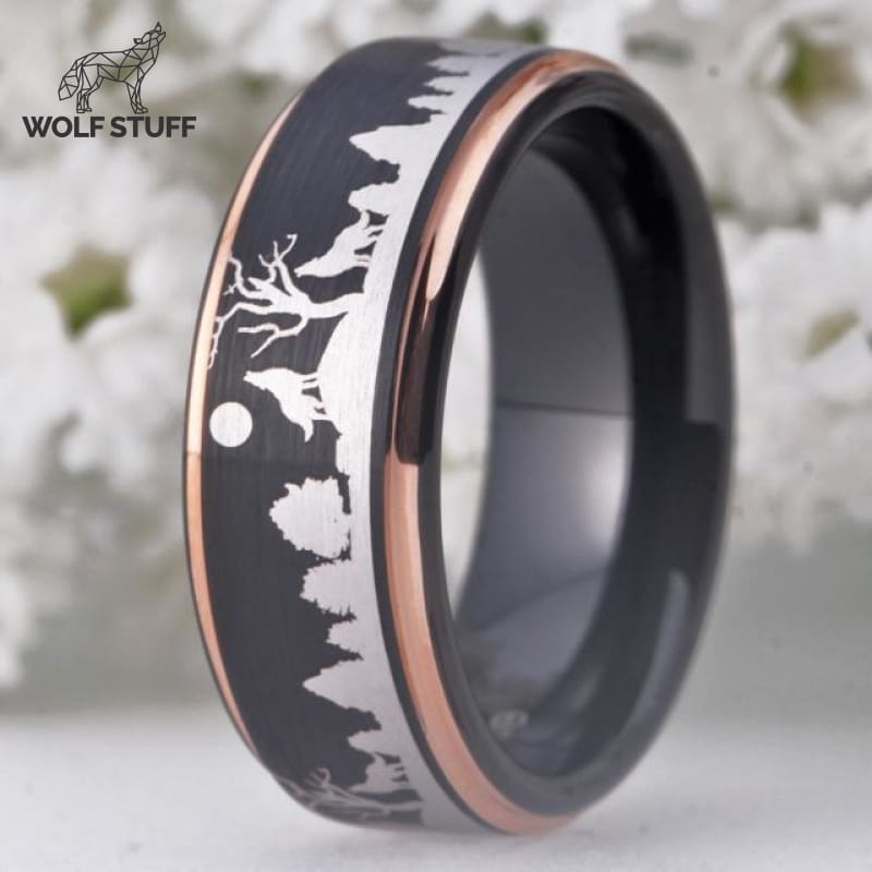 Wolf Engraved Ring
