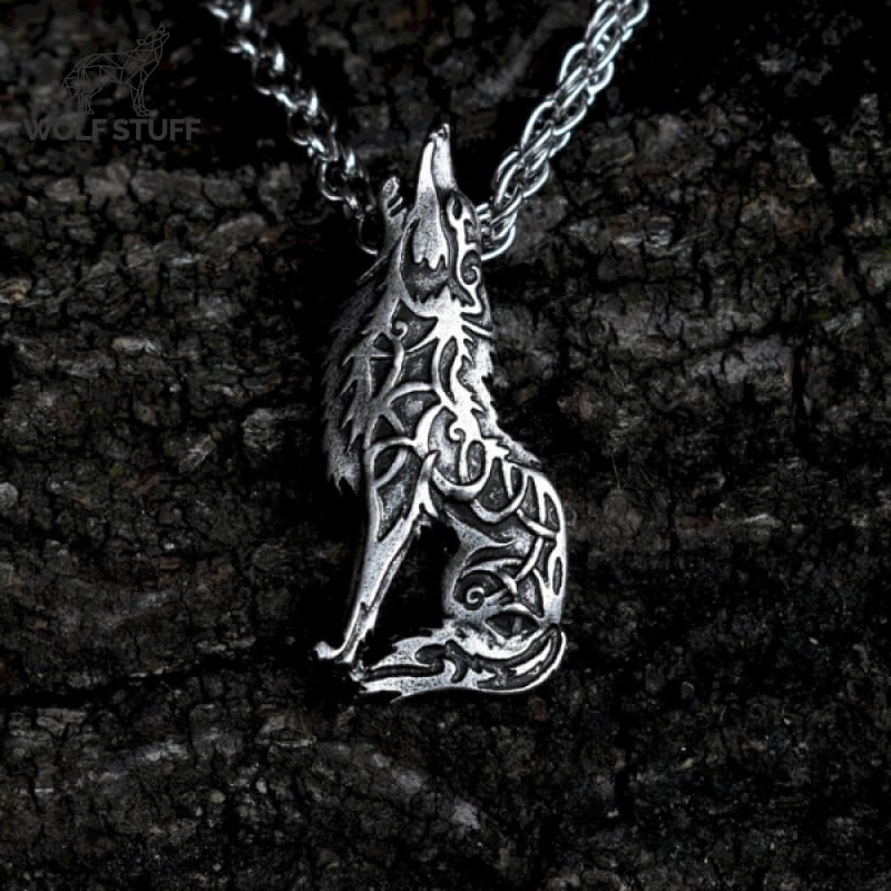Wolf Howling at the Moon Necklace