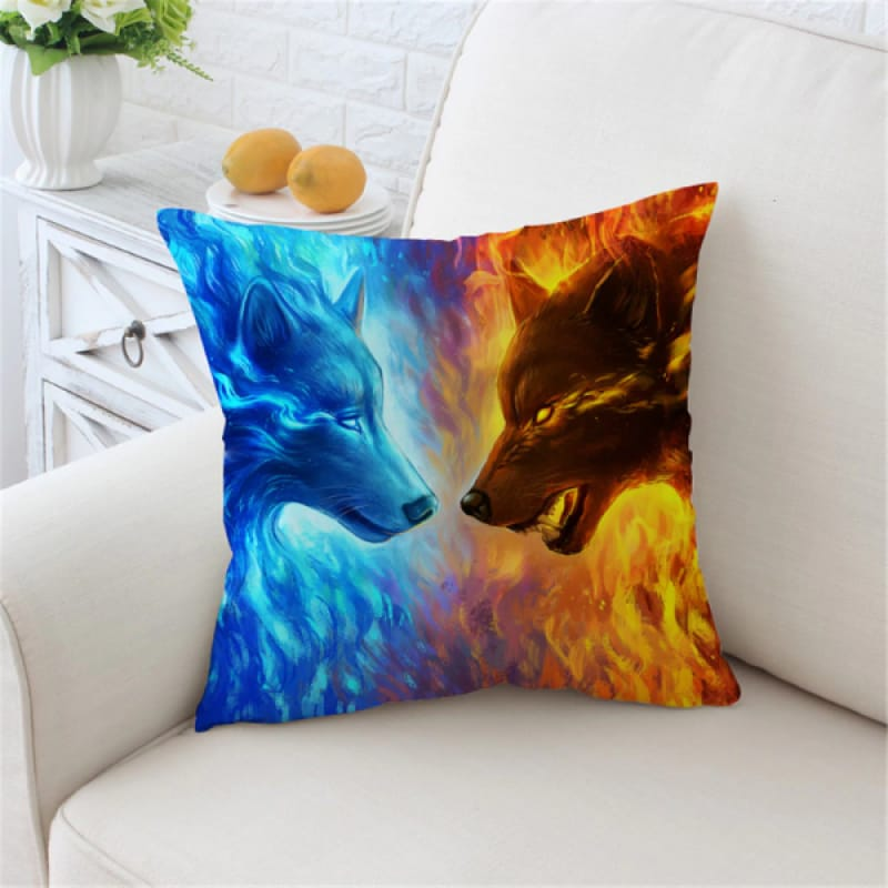 Wolf Pillow Case Ice and Fire