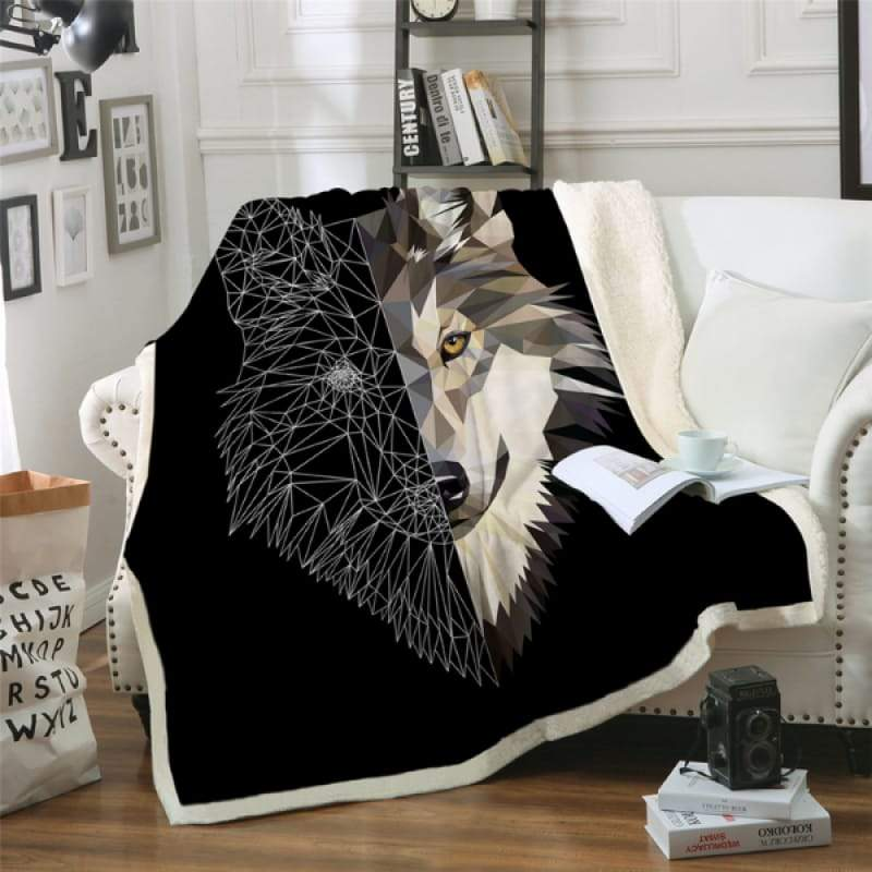 Wolf print throw blankets