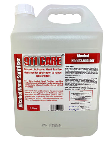 911 Care Hand Sanitiser Refills (5 Litres) - Nucare Health Shop