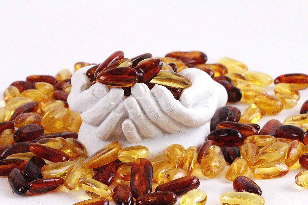 Drilled Amber Bean Shape Beads - Amber SOS