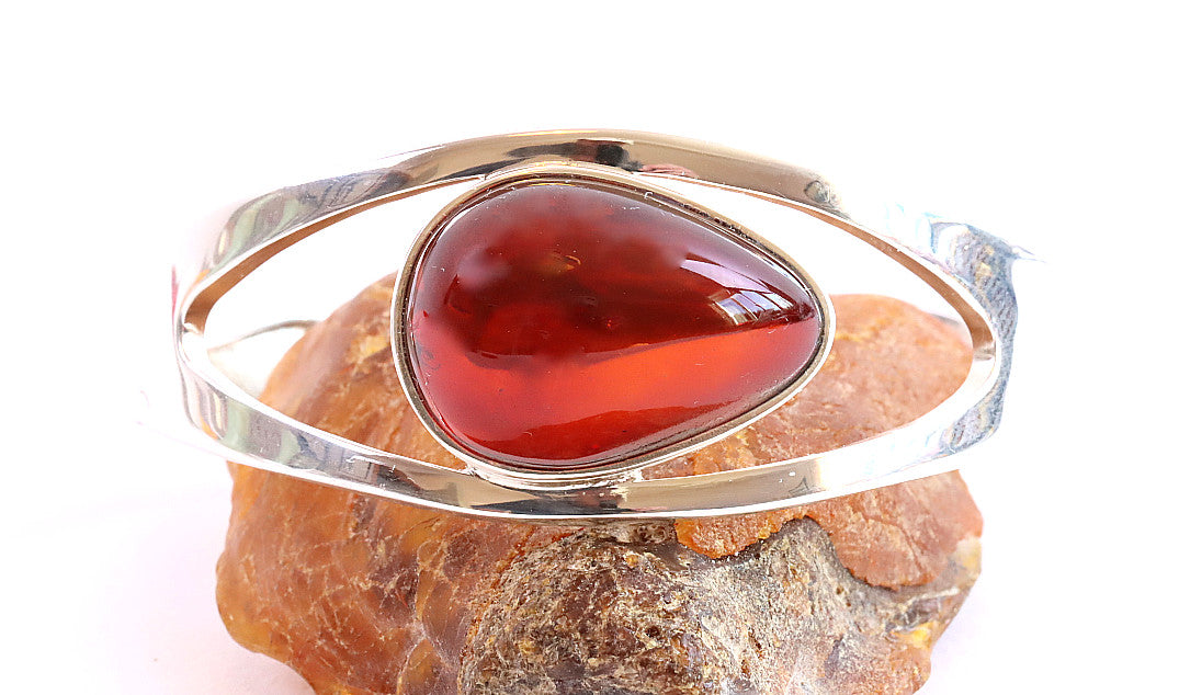 Red Amber Gemstone Bangle