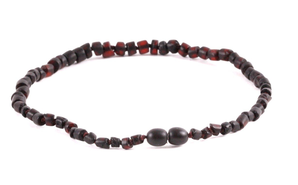 Dark Cylinder Bead Amber Necklace - Amber SOS