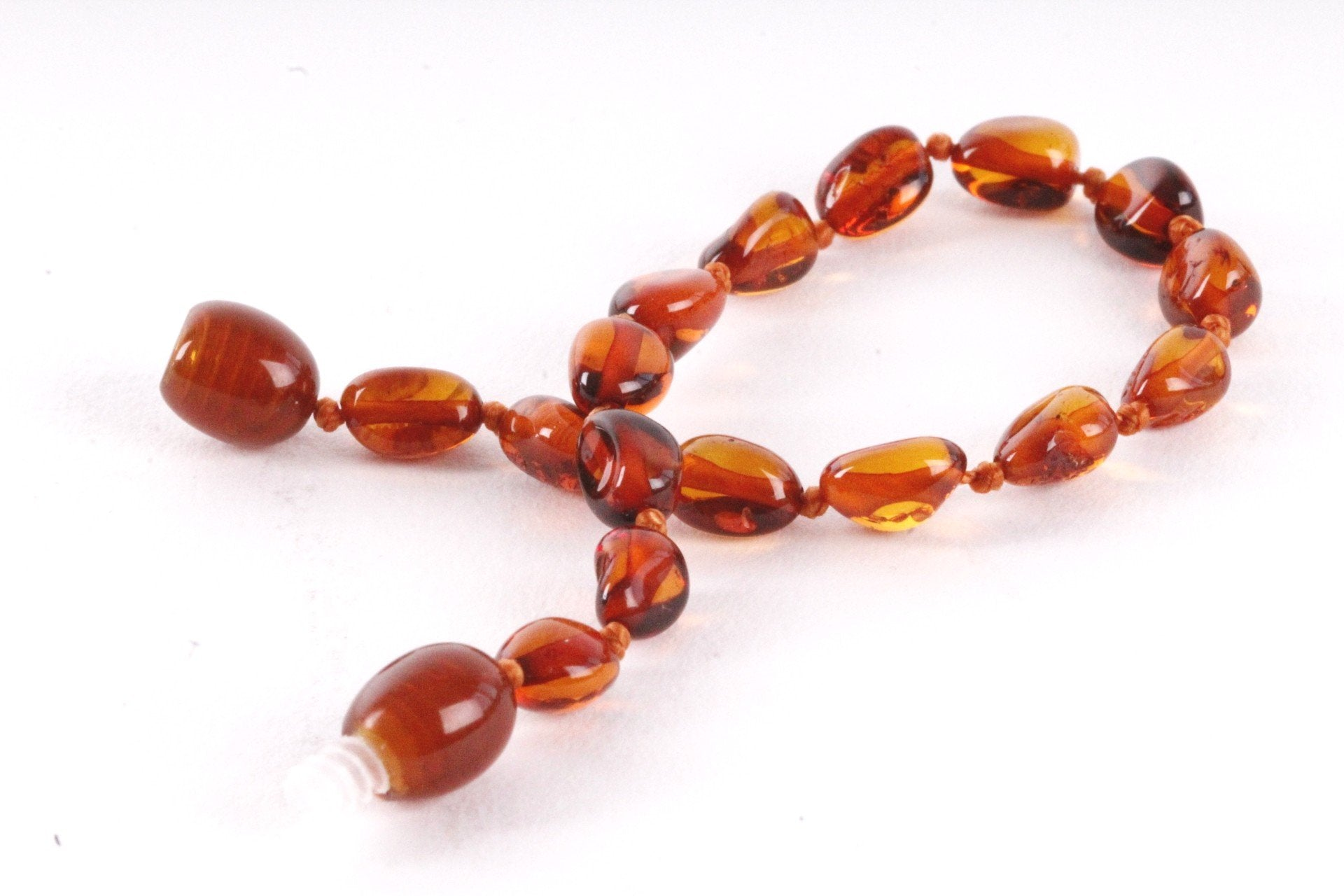 Dark Honey Bean Amber Anklet - Amber SOS