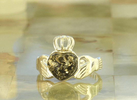 Green Claddagh Ring Amber SOS