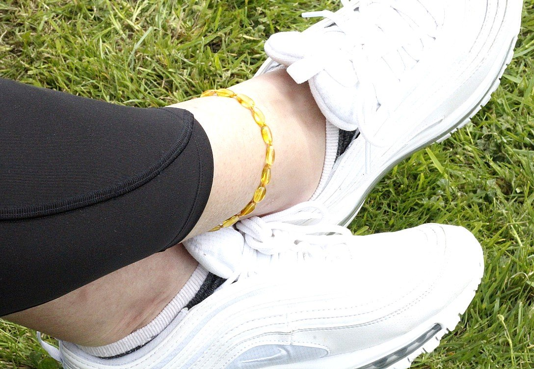 Yellow Bead Adult Anklet - Amber SOS