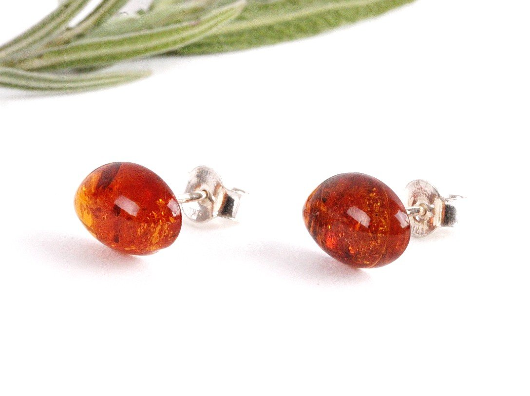 Oval Amber Gem Earrings - Amber SOS
