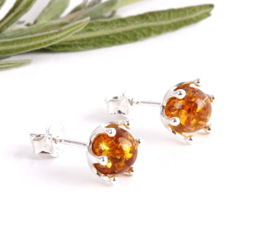 Tidy Round Honey Stud Earrings - Amber SOS