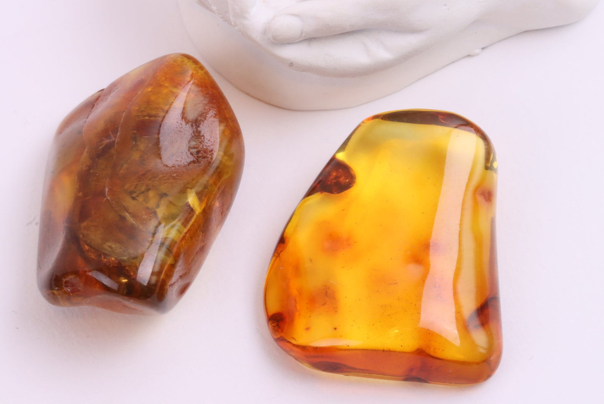 Pair of Amber Gemstones - Long Distance Gift
