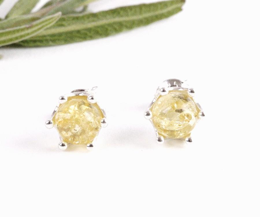 Sparkling Lemon Ball Amber Stud Earrings - Amber SOS