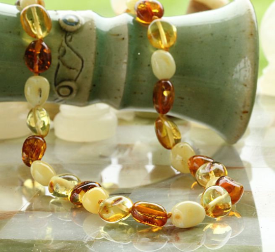 Long Lemon and Honey Necklace