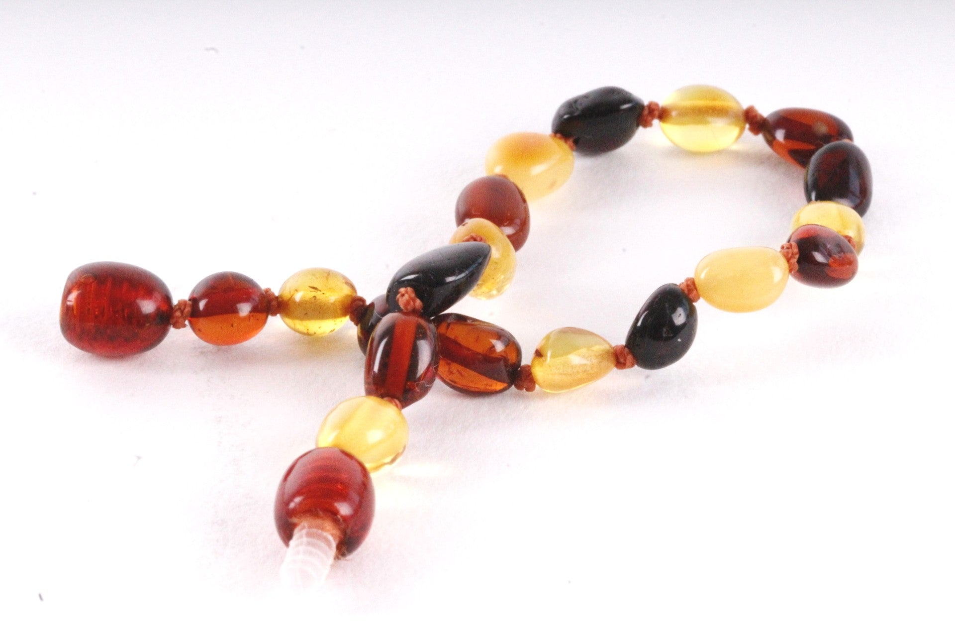 Amber Anklet Mixed Bean Screw Clasp