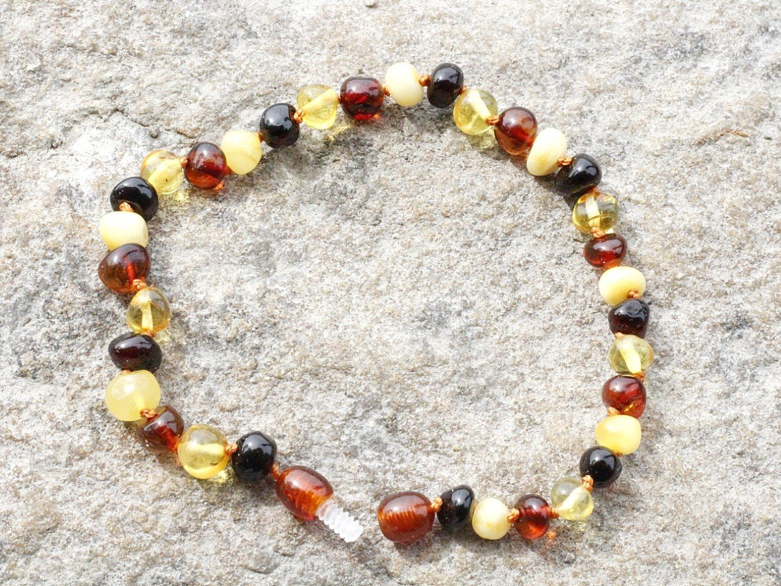 Mixed Round Adult Anklet - Amber SOS