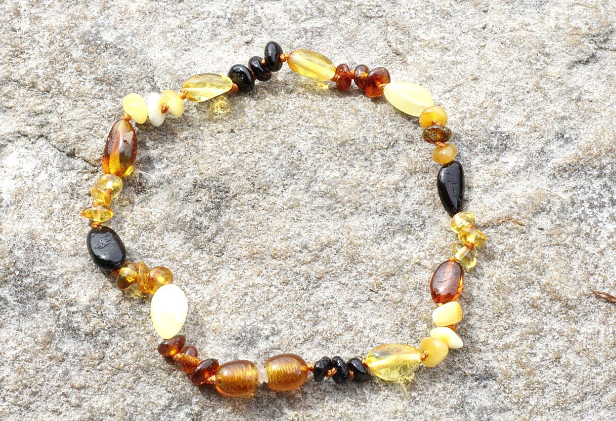 Multi Bead Adult Anklet - Amber SOS
