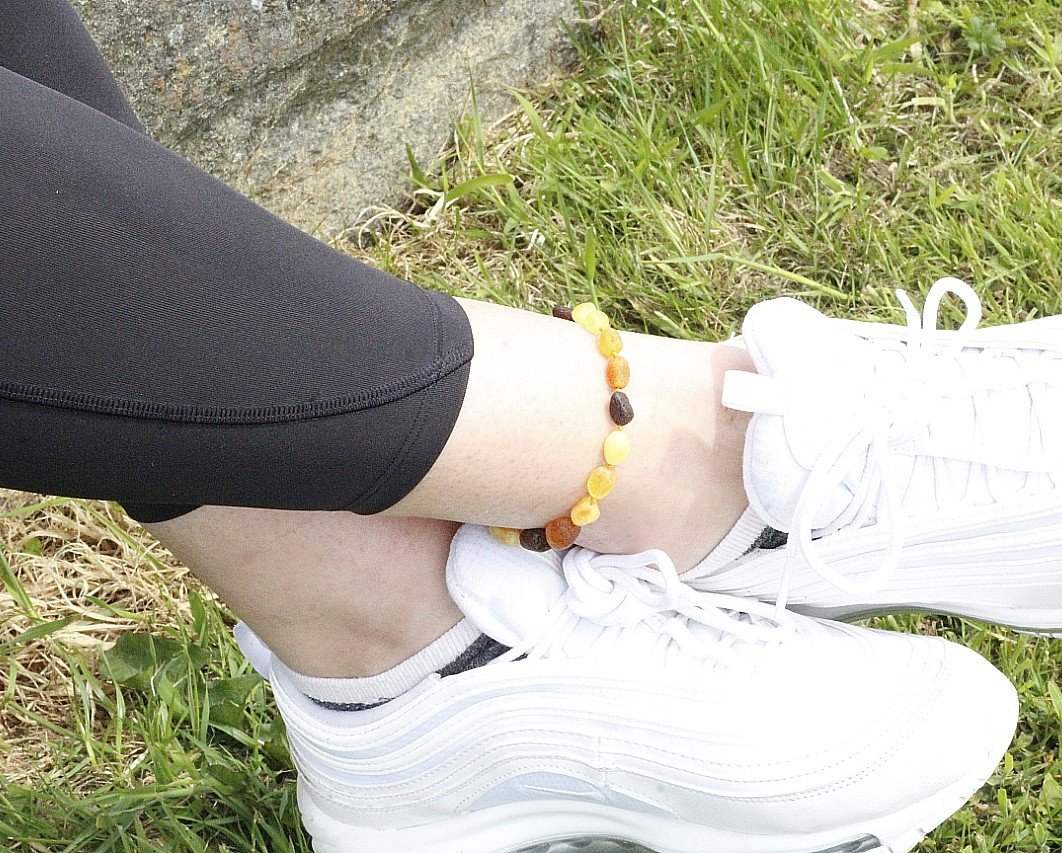 Natural Bead Amber Anklet - Amber SOS