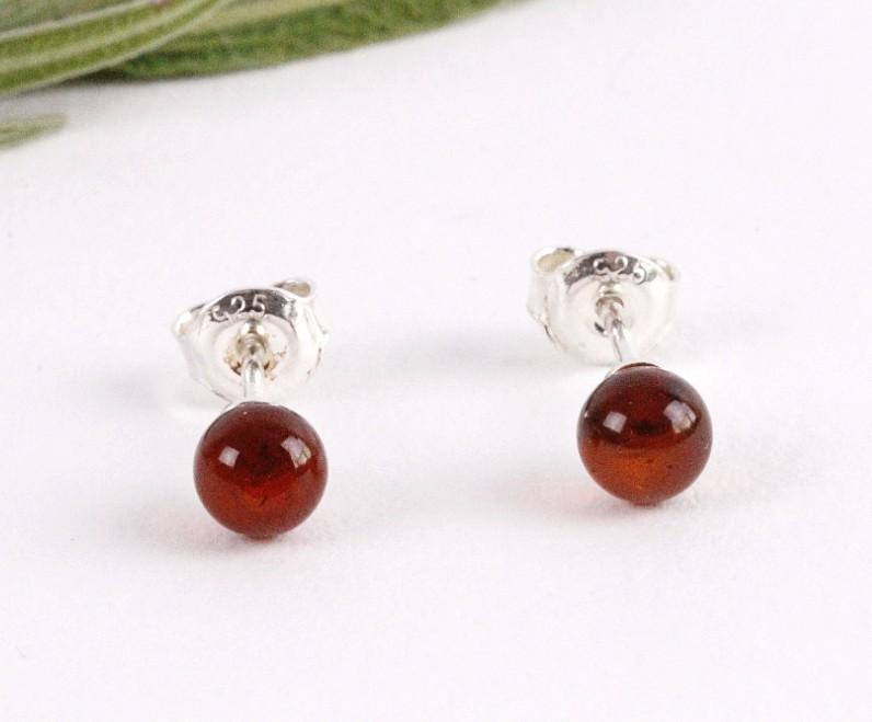 Petite Round Stud Earrings - Amber SOS