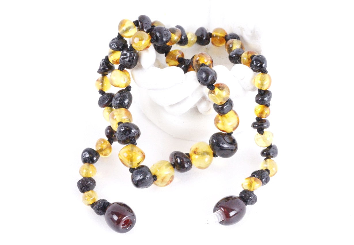 Yellow and Cherry Amber Necklace
