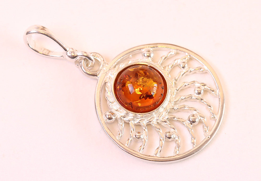 Black Friday Sale Christmas Sale Circle Amber Pendant