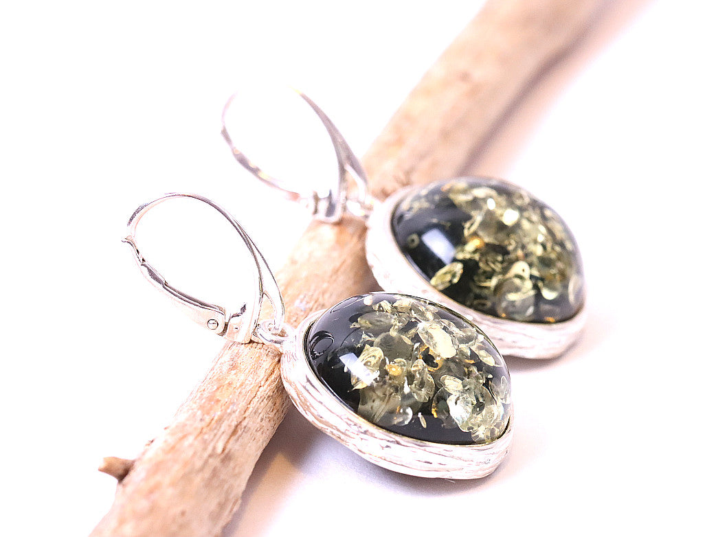 Green Amber Earrings