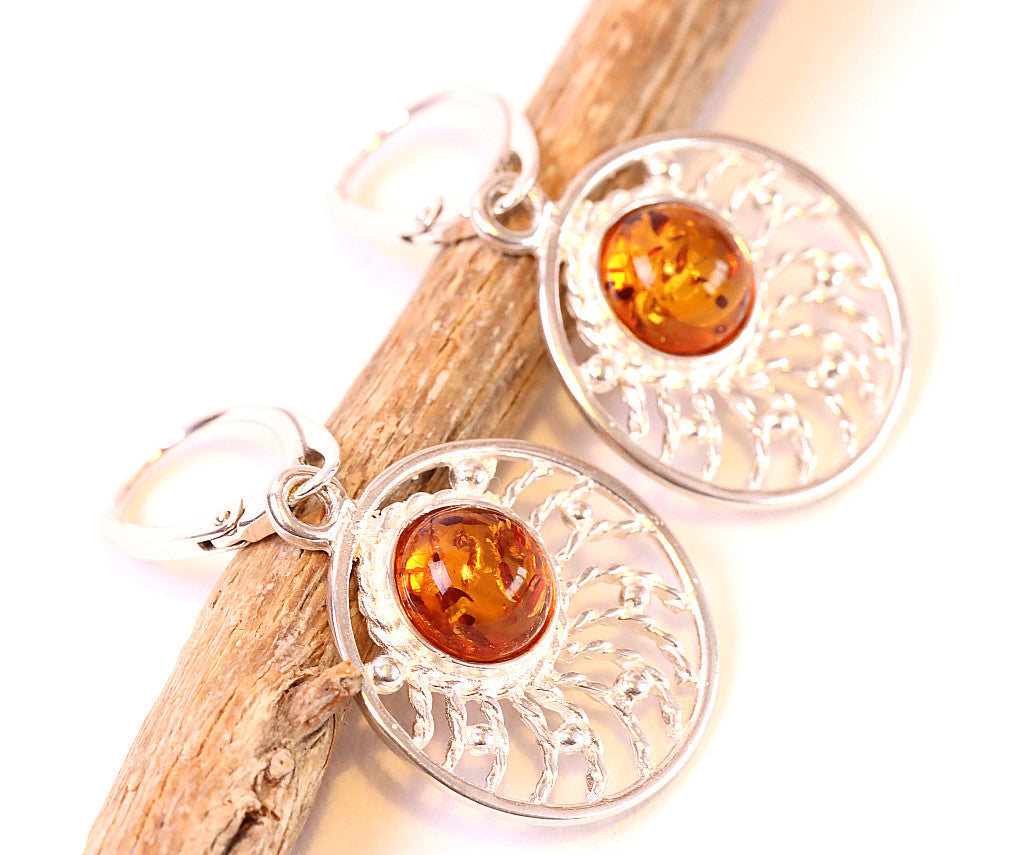 Silver Sunburst Earrings